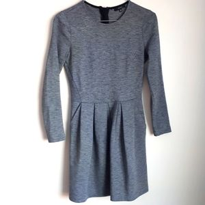 Talula Grey Dress pleated front long sleeve
